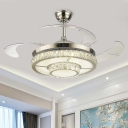 Round Crystal Semi Flush Light Fixture Modernist 19