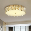 Simplicity LED Flush Mount Gold Round Acrylic Ceiling Lighting with Clear Crystal Shade