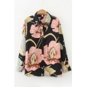 Vintage Ladies Floral Pattern Single Breasted Long Sleeve Turn Down Collar Relaxed Shirt in Black