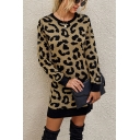 Fashionable Girls Leopard Print Long Sleeve Crew Neck Short Straight Sweater Dress
