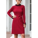 Chic Womens Lace Trimmed Long Sleeve Crew Neck Knit Bow Tied Waist Mid A-line Sweater Dress