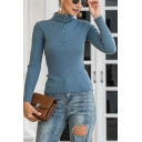 Sexy Ladies Plain Long Sleeve Stand Collar Half Zipper Slim Fit Knit Pullover Sweater
