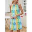 Fashionable Womens Ombre Sleeveless Crew Neck Short A-line Tank Dress in Green