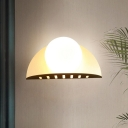 White Glass Ball Shape Wall Sconce Contemporary Gold LED Wall Mount Lighting with Bend Metal Backplate