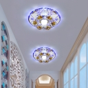 Minimalist LED Flush Mount Fixture Chrome Blossom Ceiling Lamp with Cut Crystal Shade in Warm/White/Blue Light