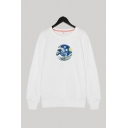 Modern Mens Sweatshirt Sky Wave Twisted Line Oil Painting Pattern Crew Neck Relax Fit Long-sleeved Pullover Sweatshirt
