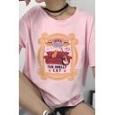 Vintage Womens Tee Top Cat Guitar Sofa Footprint Cup Letter Pattern Round Neck Loose Fitted Short Sleeve Tee Top
