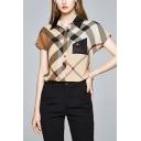Retro Womens Color Block Chest Pocket Button Up Turn-down Collar Short Sleeve Regular Fit Shirt