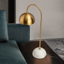 Dome Night Table Lighting Minimalist Metal 1 Head Parlor Task Lighting with Marble Pedestal in Brass