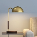 Modernism Single Head Table Light Brown Domed Nightstand Lighting with Metal Shade
