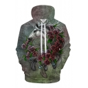 Dressy Mens Hoodie Floral Leaf Unicorn Head Net Feather 3D Pattern Drawstring Long Sleeve Regular Fitted Hoodie with Pocket
