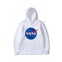 New Trendy NASA Logo Printed Stripe Long Sleeve Casual Hoodie