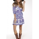 Summer's Holiday Beach Wrap V Neck Half Sleeve Floral Printed Mini Dress