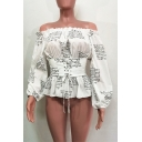 Fashionable Long Sleeve Off the Shoulder Lace Up Gathered Waist Allover Letter Print Ruffled Fitted Blouse Top in White