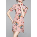 Pretty Womens Chinese Style Flower Print Frog Button Mandarin Collar Short Sleeve Mini Sheath Cheongsam Dress in Pink