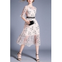 Pink Fancy Floral Print Patchwork Gathered Waist Crew Neck Bell Half Sleeve Double Layer See Through Mesh Midi A-Line Dress for Women