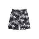 Trendy Guys All Over Flower Skull Tree Printed Drawstring Waist Relaxed Fit Shorts