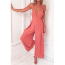 Womens Jumpsuits Trendy Plain Pleated Wide Leg Ankle Length Sleeveless Strap Loose Fitted Jumpsuits