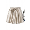 Retro Womens Shorts Solid Color Linen Tie-Waist Loose Fitted Relaxed Shorts