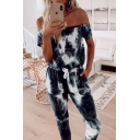 Womens Jumpsuits Stylish Tie Dye Drawstring Waist off Shoulder Slim Fitted Short Sleeve Capri Jumpsuits