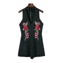 Cool Womens Rompers Floral Leaf Embroidery Zipper Back Sleeveless Halter Neck Regular Fitted Jumpsuits