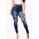 Classic Blue Womens Jeans Medium Wash Ripped Hole High Rise Zipper Fly Ankle Length Slim Fit Tapered Jeans