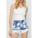 Trendy Womens Blue Shorts Acid Wash Frayed Hem Distressed Regular Fitted Zipper Fly Denim Shorts
