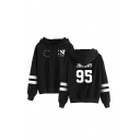 Fashionable Striped Star Letter Graphic Print Drawstring Long Sleeve Loose Fit Hooded Sweatshirt