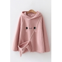 Lovely Fuzzy Long Sleeve Cartoon Face Embroidered Relaxed Hoodie with Bag