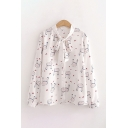 Pop Womens All Over Rabbit Heart Printed Button Up Bow Tie Neck Long Sleeve Loose Fit Shirt