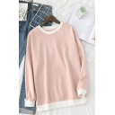 Womens Leisure Contrasted Long Sleeve Crew Neck Loose Fit Pullover Sweatshirt