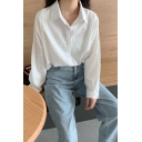 Trendy Womens Solid Color Long Sleeve Point Collar Button Up Curved Hem Relaxed Long Shirt Top
