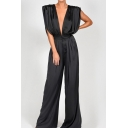 Fashion Jumpsuits Plain Tie Sleeveless Zip Placket Long Length Deep V Neck Crinkled Loose Fit Jumpsuits for Women