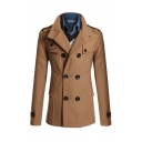 Basic Mens Trench Coat Solid Color Epaulets Double-Breasted Notched Lapel Collar Long Sleeve Slim Fitted Trench Coat