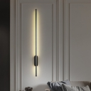 Simplicity Linear Wall Mounted Light Metal LED Bedroom Wall Lighting Fixture in Black with Oval Backplate, Warm/White Light