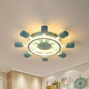 Rudder Acrylic Flush Mount Contemporary White/Blue LED Ceiling Flush with Anchor Design in Warm/White Light, 19.5
