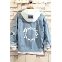 Korean Style Boys Cartoon Print Distressed Long Sleeve Patchwork Relaxed Fit Denim Jacket