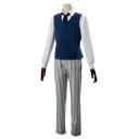 Formal Mens Long Sleeve Spread Collar Shirt Button Up Vest Striped Straight Pants Set in Navy