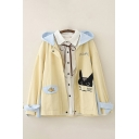 Preppy Looks Cat Fish Japanese Letter Embroidered Patched Pockets Contrasted Long Sleeve Hooded Zip Up Relaxed Jacket