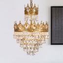 3-Light Pendulum Light Modernist Crown Shape Crystal Ball Chandelier Pendant Lamp in Gold