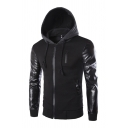 Chic Mens Jacket Patchwork Drawstring Zipper Detail Slim Fitted Long Sleeve Hooded Leather Jacket