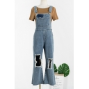 Mens Trendy Distressed Ripped Detail Casual Loose Light Blue Denim Bib Overalls with Holes