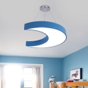 Kids LED Chandelier Lamp Fixture Yellow/Blue Crescent Suspension Pendant with Acrylic Shade