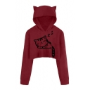 Cartoon Sleeping Cat Pattern Long Sleeve Cropped Ear Hoodie