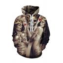 New Fashion King Skull Print Long Sleeve Hoodie