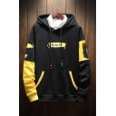Hip Hop Fashion Colorblock Letter MOUSE Loose Oversized Black and Yellow Hoodie