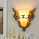 1 Light White Glass Wall Light Sconce Countryside Gold Flared Bedroom Wall Mounted Lighting