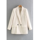 Work Ladies Solid Color Long Sleeve Notched Collar Double Breasted Flap Pockets Relaxed Fit Blazer