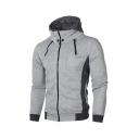 Mens Fashion Hooded Sweatshirt Color Block Snap Detail Contrast Trim Pockets Zip Closure Long-sleeved Slim Fit Hooded Sweatshirt