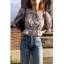 Pretty Allover Floral Printed Puff Sleeve Point Collar Tied Front Ruffled Regular Fit Crop T Shirt in Blue